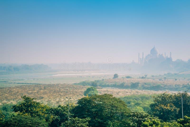 泰姬陵和雾在阿格拉,印度 免版税库存图片
