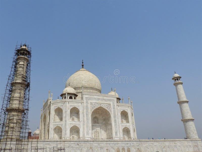 泰姬陵爱,在Yamuna河的南岸白色象牙大理石的陵墓和标志在阿格拉,Uttar印度城市 免版税库存图片