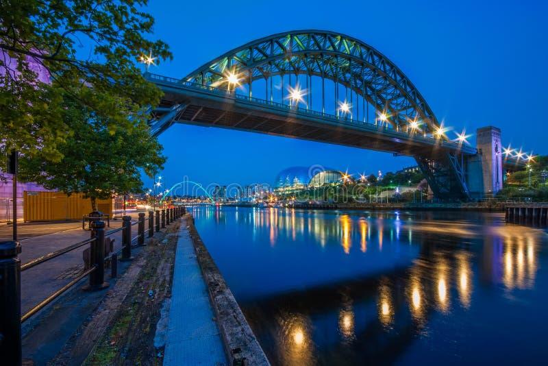 泰恩河桥梁在泰恩河畔纽卡斯尔,英国 图库摄影