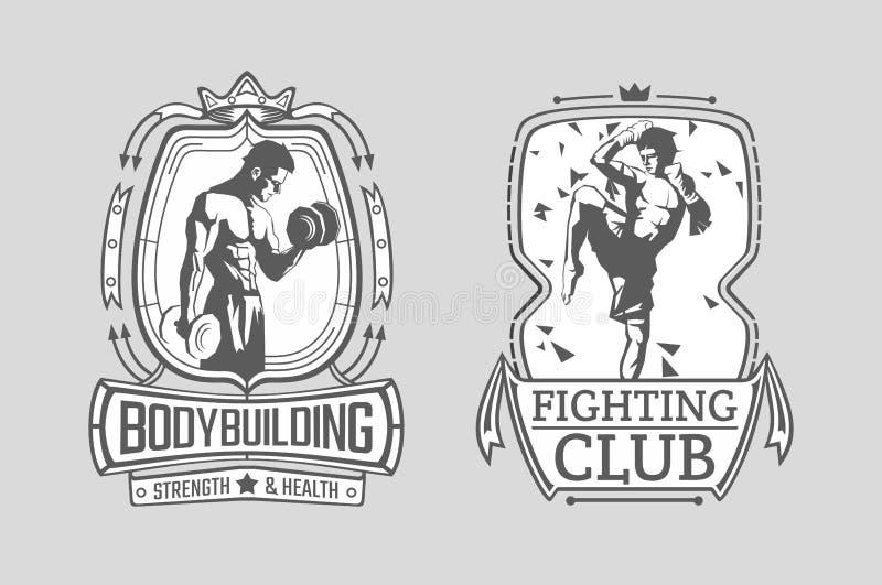 泰拳战斗机和爱好健美者的例证框架的 建身的和泰国拳击海报 库存例证