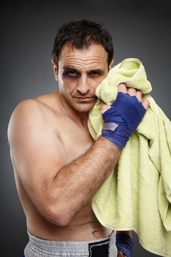 泰拳战斗机以挫伤 图库摄影
