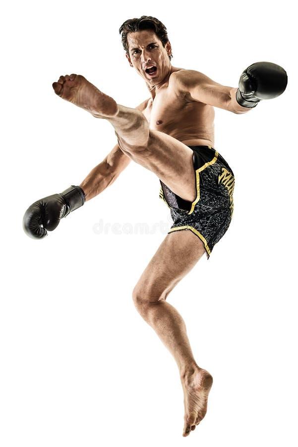 泰拳kickboxing的kickboxer拳击人被隔绝 库存照片