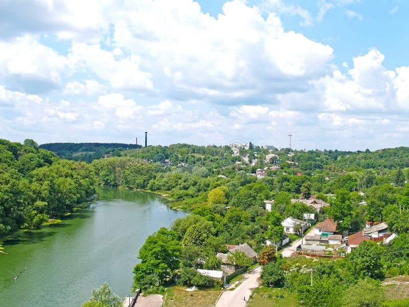 泰特列夫河观与私人开发区 日托米尔,乌克兰 免版税库存照片