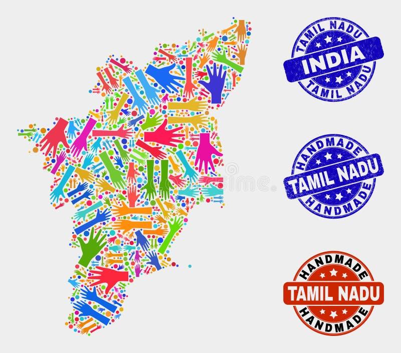 泰米尔・那杜状态地图和被抓的手工制造邮票手拼贴画  皇族释放例证