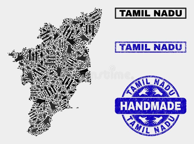 泰米尔・那杜状态地图和难看的东西封印手工制造拼贴画  向量例证