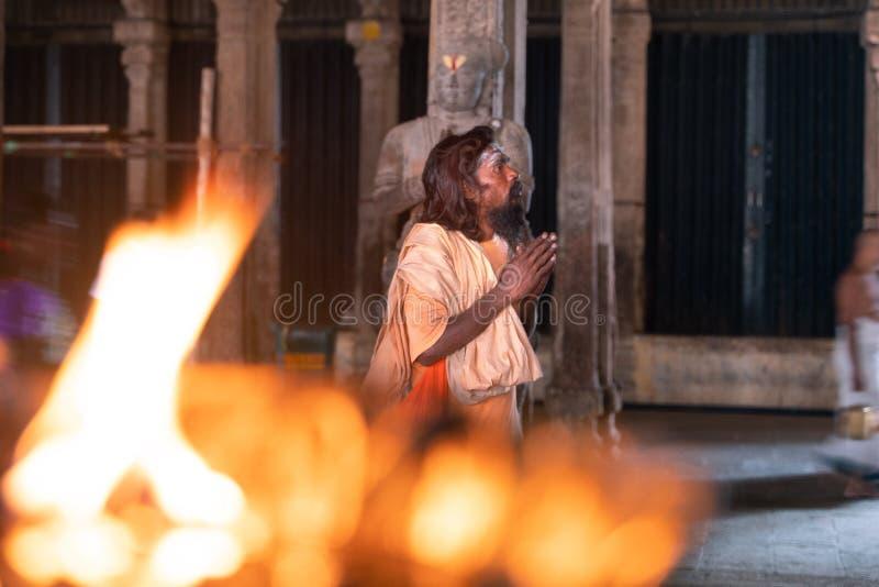 泰米尔・那杜/印度25 01 2019年:在老印度寺庙里面的看法在印度 免版税库存图片