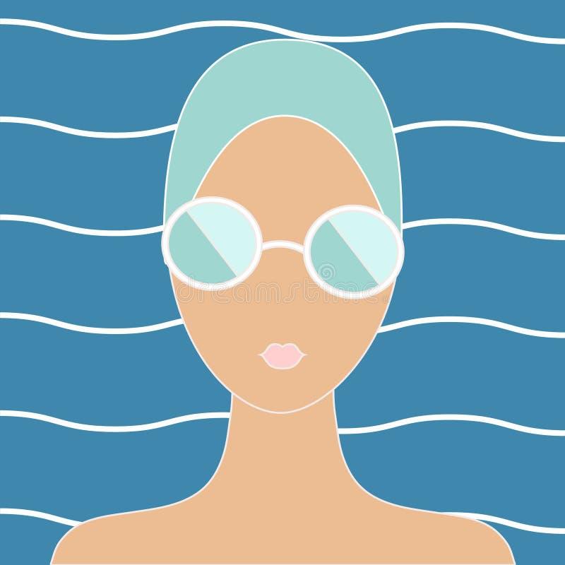 泳帽的妇女 皇族释放例证