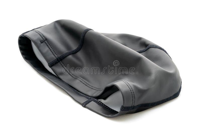 泳帽,黑硅树脂颜色,隔绝在白色背景 免版税库存照片
