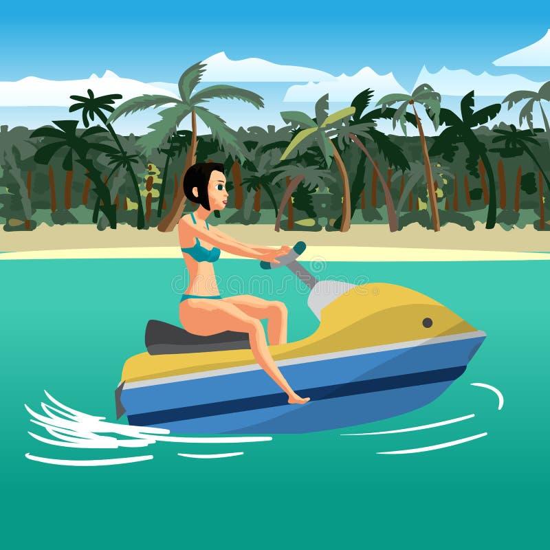 泳装的少妇在滑行车浮动在回归线附近 库存例证
