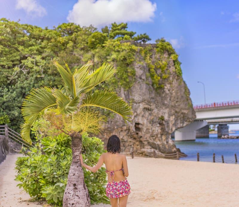 泳装的年轻女人从后面在沙滩Naminoue的一棵棕榈树前面由与神道圣地的一个巨大的岩石冠上了 免版税库存图片