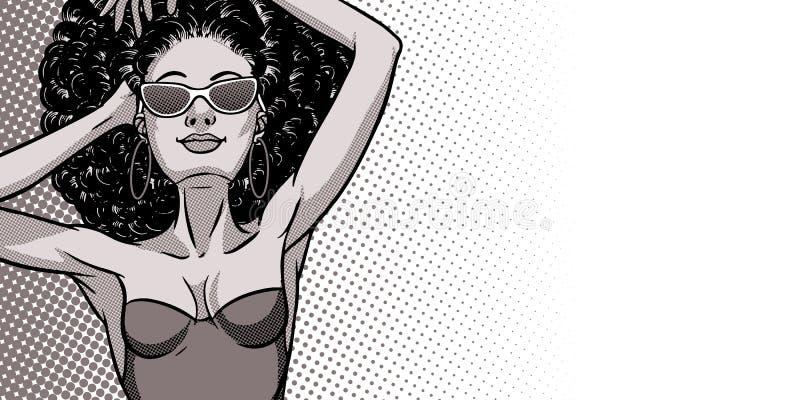 泳装的年轻美丽的黑人妇女 海滩女孩,比基尼泳装,夏天休假 魅力非裔美国人的模型 导航可笑 皇族释放例证