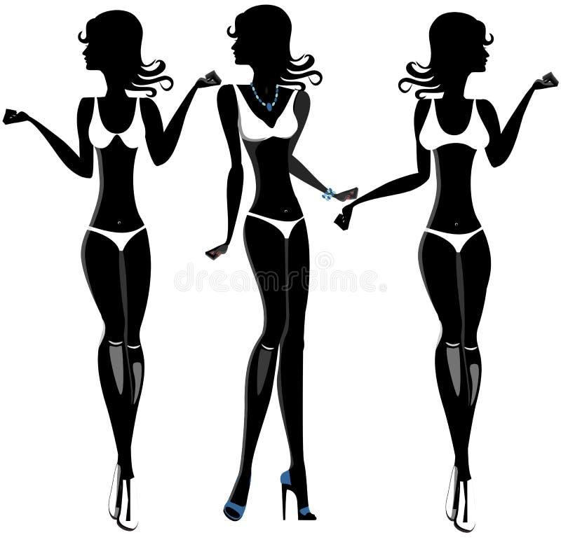 泳装集合的黑人妇女 剪影 股票 向量例证