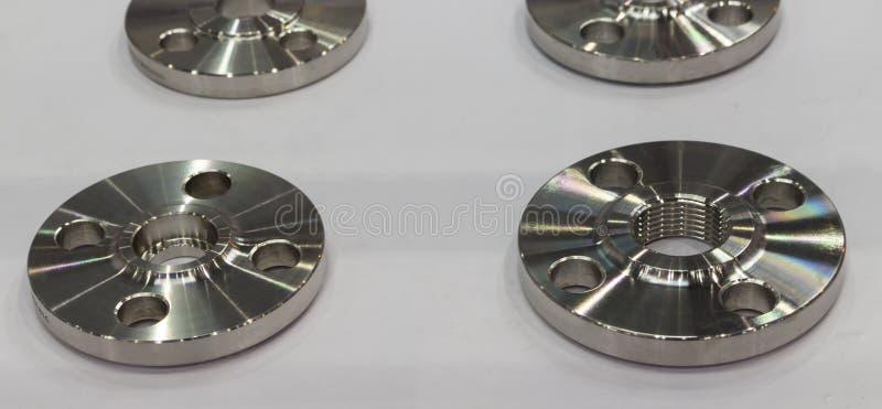 泵浦制造业的耳轮缘零件由高精确度cnc 免版税库存照片