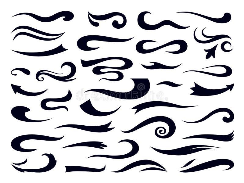 ??swooshes 卷曲漩涡元素,减速火箭的印刷术强调设计模板,在口音上写字的字体 ?? 库存例证