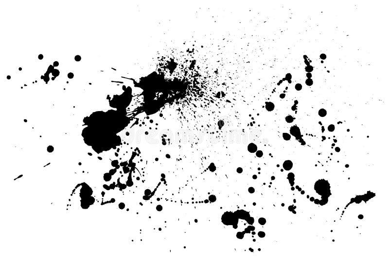 泼溅物油漆纹理 困厄概略的背景 墨水黑浪花污点  抽象向量 拉长的现有量 向量例证