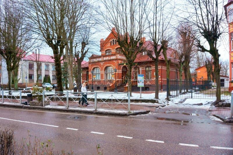 泽列诺格勒地方学问市博物馆,在驻地前别墅Krell附近的列宁街道 库存图片