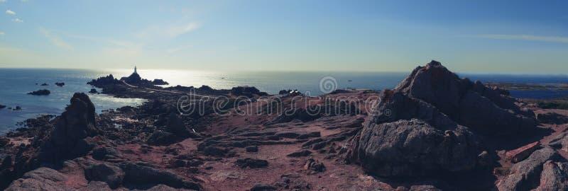 泽西海岛,灯塔Corbiere全景  库存照片