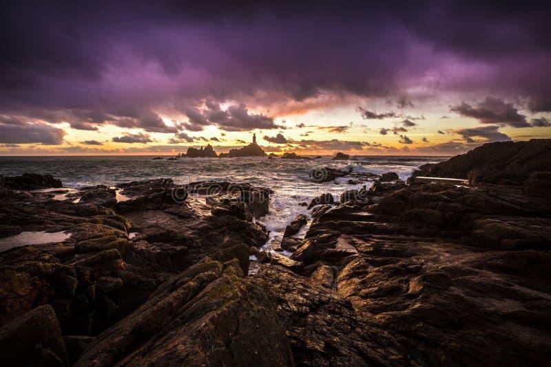 泽西海峡群岛岸 库存照片