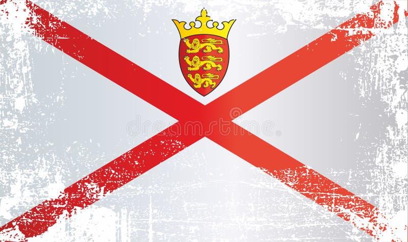 泽西,泽西的管区的旗子 起皱纹的肮脏的斑点 库存例证