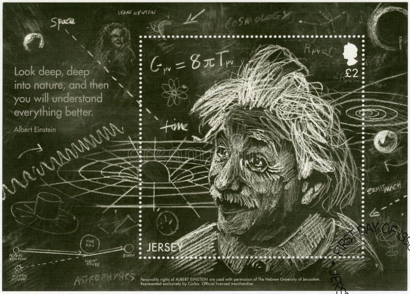 泽西- 2016年:展示阿尔伯特・爱因斯坦1879-1955,物理学家,爱因斯坦广义相对论` s理论  库存图片