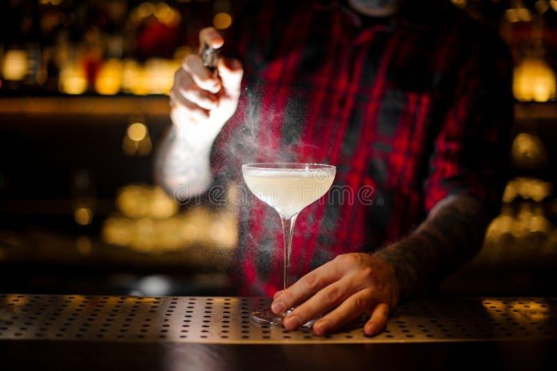 洒典雅的鸡尾酒杯的男服务员与与苦涩的酒精饮料 免版税库存照片