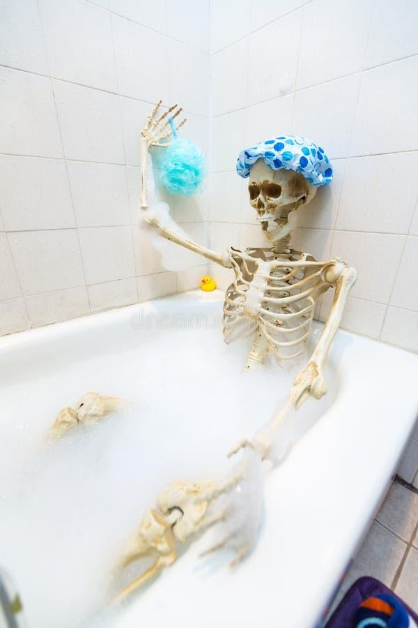 洗在一个脏的米色肮脏的木盆的骨多的骨骼一次泡末浴 库存图片