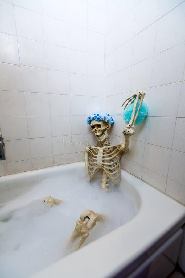 洗在一个脏的米色肮脏的木盆的骨多的骨骼一次泡末浴 免版税图库摄影