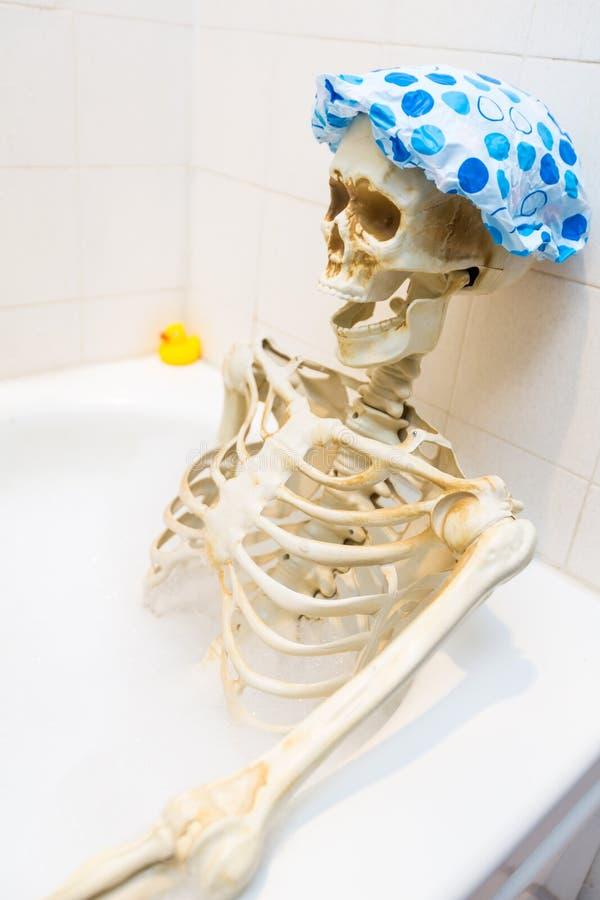 洗在一个脏的米色肮脏的木盆的骨多的骨骼一次泡末浴 图库摄影