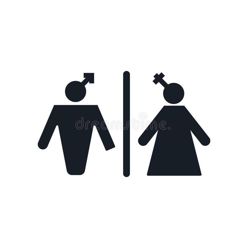 洗手间象在白色背景和标志隔绝的传染媒介标志,洗手间商标概念 皇族释放例证