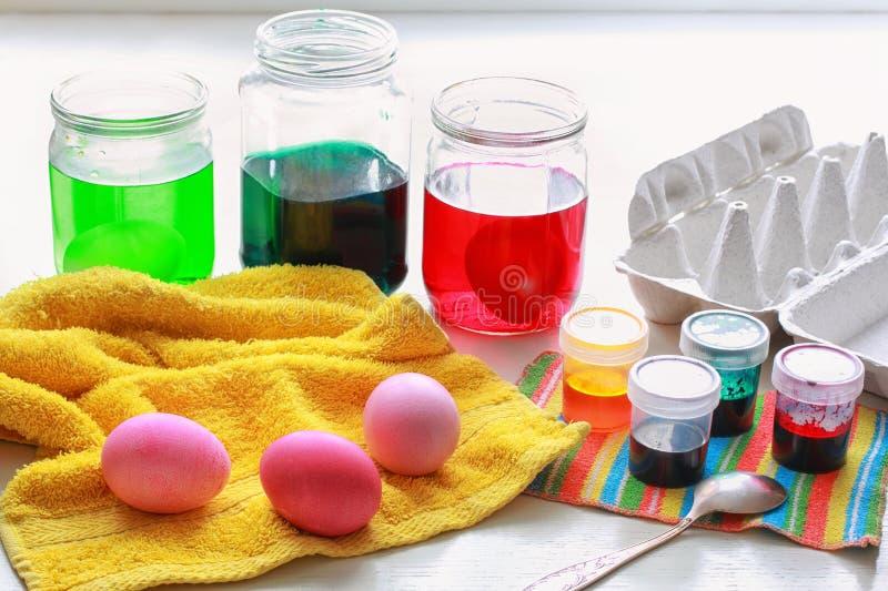 洗染的复活节彩蛋 库存照片