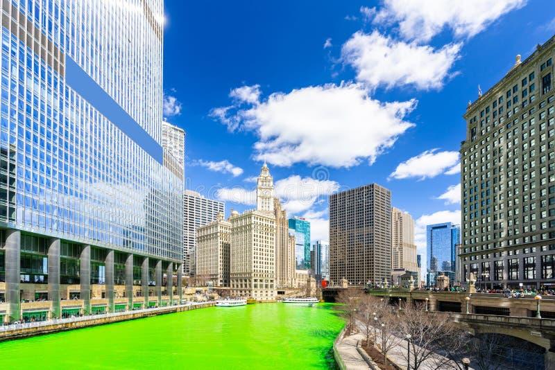 洗染的河芝加哥St'Partick天 免版税图库摄影