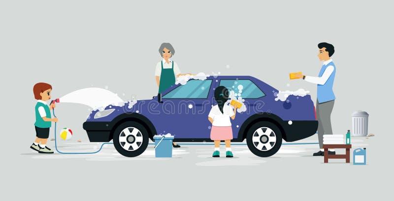洗涤一辆汽车 库存例证
