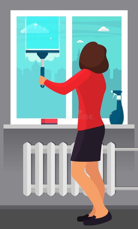 洗涤与刮板的妇女窗口 清洁重点玻璃表面视窗 刮板滑动在玻璃,使它干净 浪花玻璃清洁剂和 皇族释放例证
