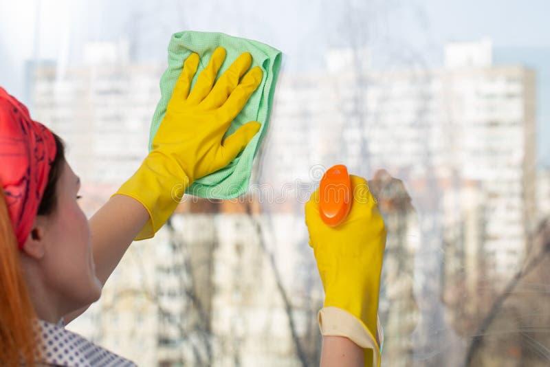 洗涤与旧布和风窗清洁器的后面观点的年轻女人窗口在屋子里 库存图片