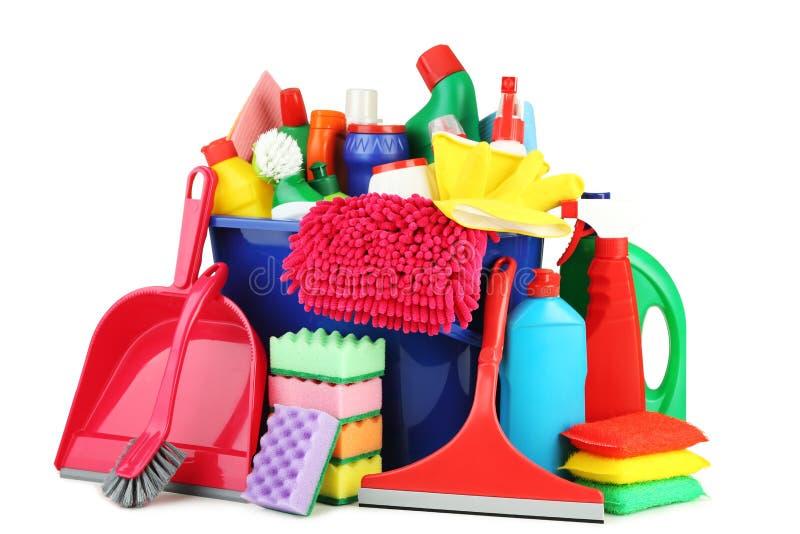 洗涤剂和清洁工具 库存照片