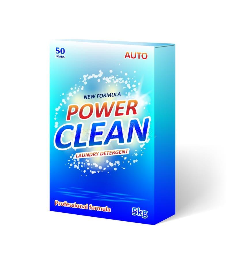 洗涤剂粉末包装的箱子设计 洗涤剂或洗衣机模板的产品包裹 向量 向量例证
