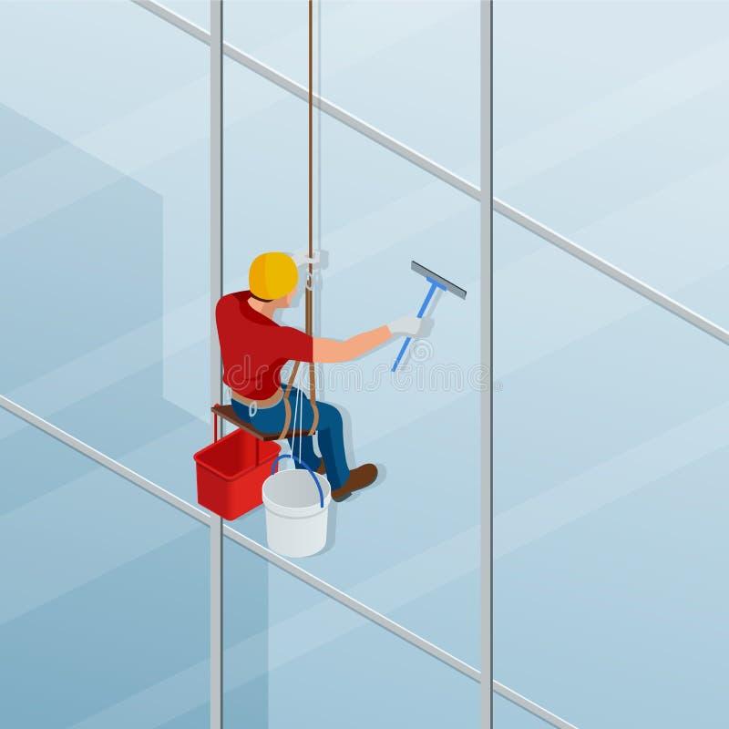 洗涤和清洗窗口与橡皮刮板 总体专业修理的等量男性工作者窗口 库存例证
