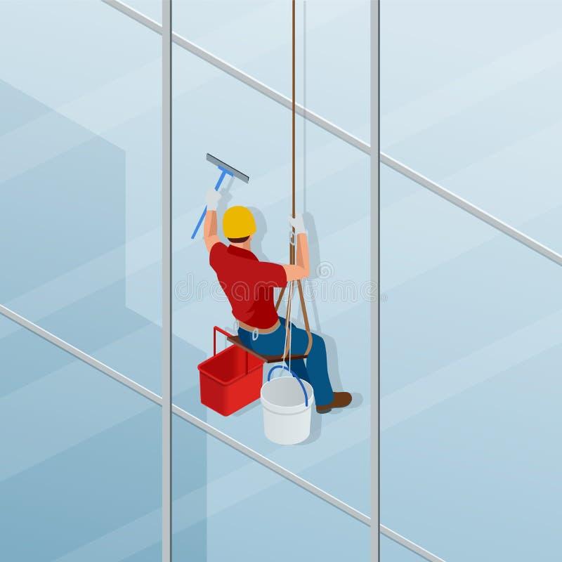 洗涤和清洗窗口与橡皮刮板 总体专业修理的等量男性工作者窗口 皇族释放例证