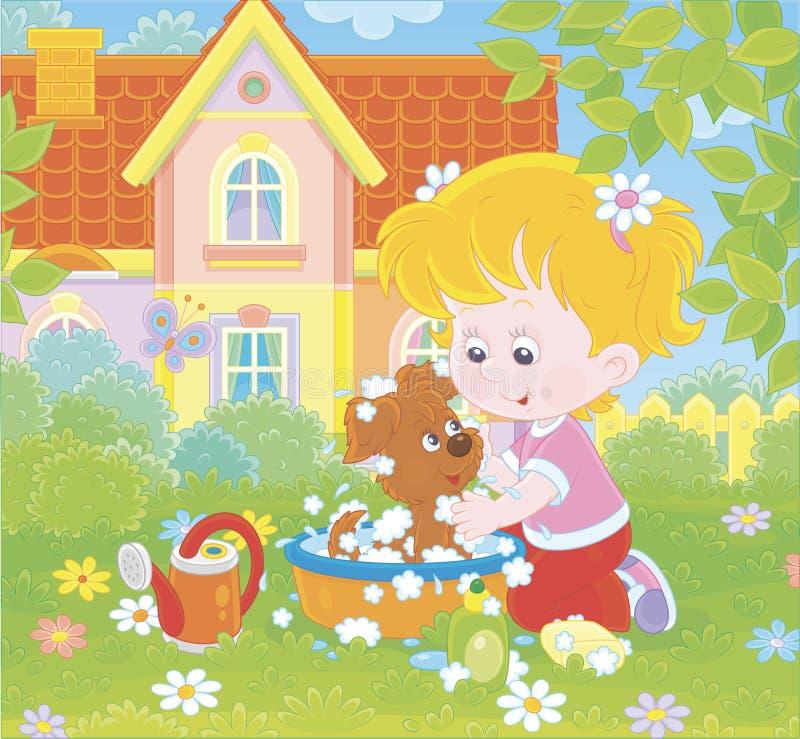 洗涤她的小狗的女孩 向量例证