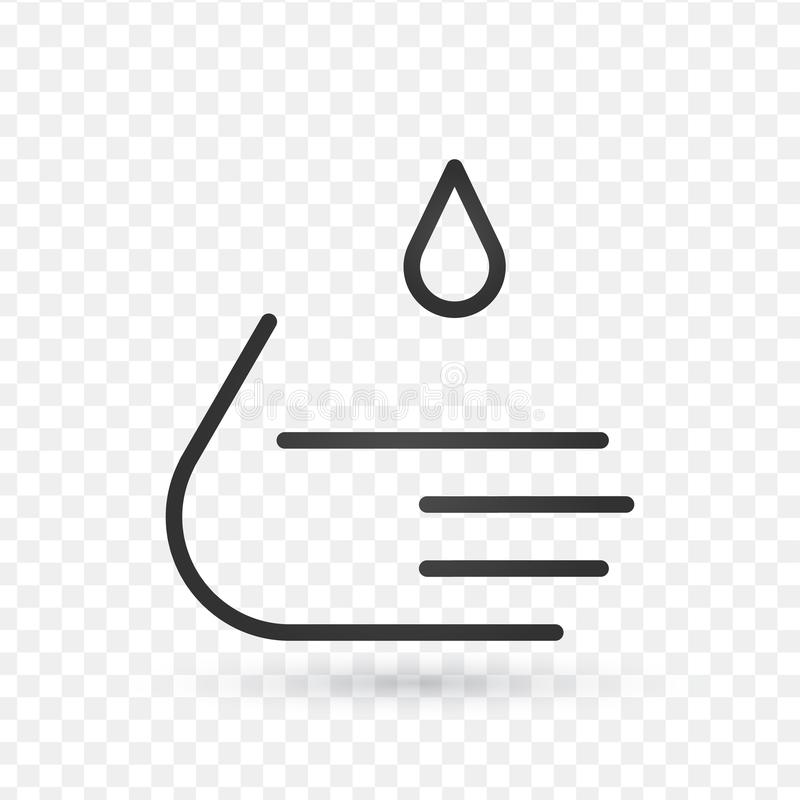 洗涤手钓丝象,概述标志,在白色隔绝的线性样式图表 编辑可能的冲程 向量例证