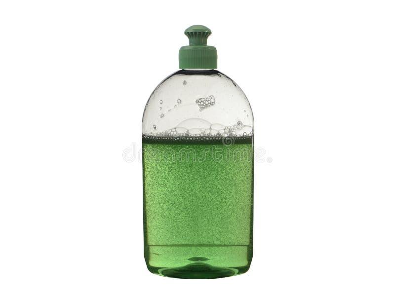 洗涤的盘的液体与在白色隔绝的泡影 免版税库存图片