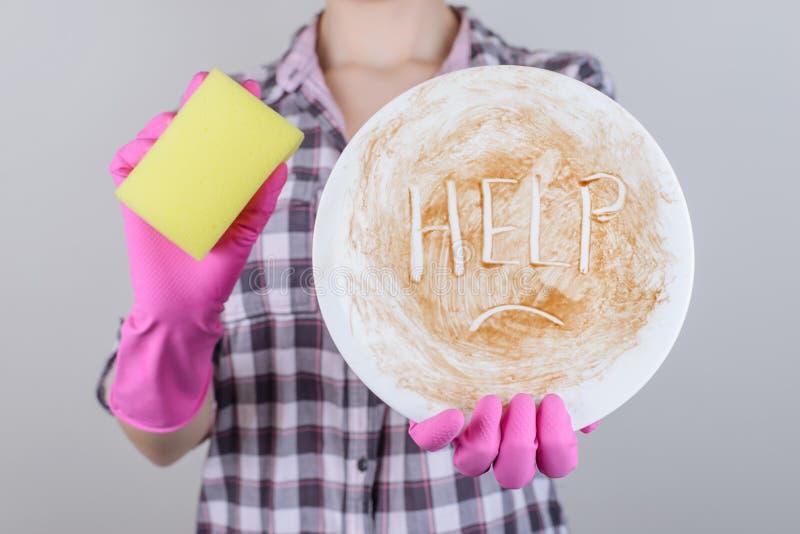 洗碗机概念斑点标志儿童孩子青少年的年龄乏味心情f 图库摄影