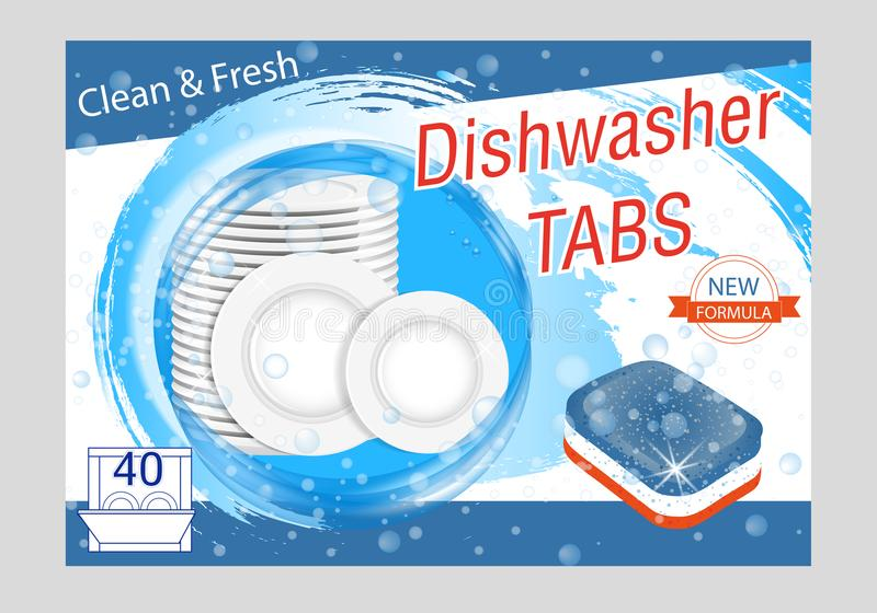 洗碟机用洗涤剂选项 与板材的现实例证在水飞溅和泡影 盘洗涤广告海报布局 皇族释放例证