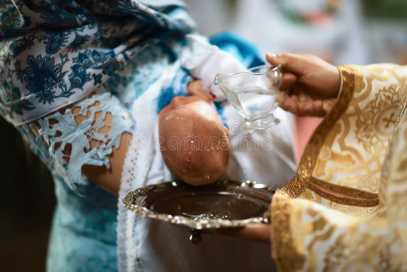 洗礼仪式在教会里 图库摄影