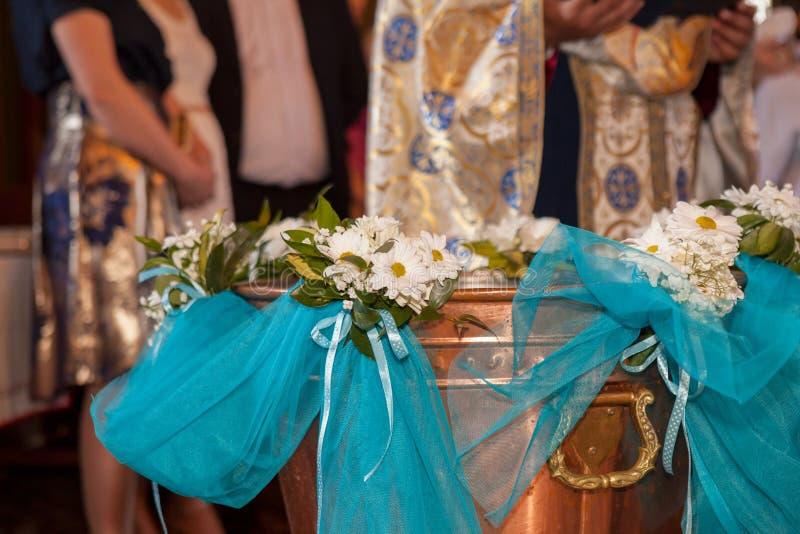 洗礼仪式字体在东正教里 免版税图库摄影