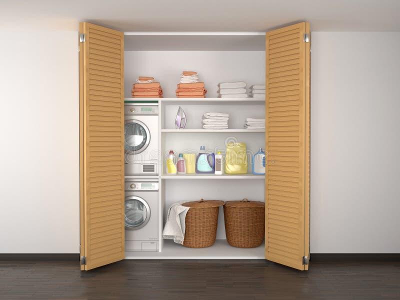 洗衣店在餐具室 更加干燥的洗衣机 皇族释放例证