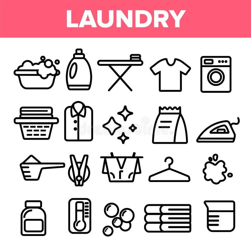 洗衣店线象集合传染媒介 接近的设备射击了洗涤 干净的干燥棉花 布料洗衣店图表 稀薄的概述网例证 向量例证