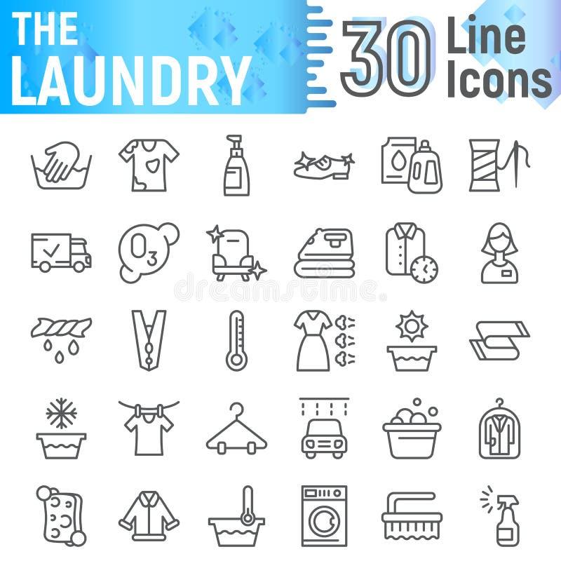 洗衣店线象集合,干净的标志汇集,传染媒介剪影,商标例证,洗涤标志线性图表 向量例证