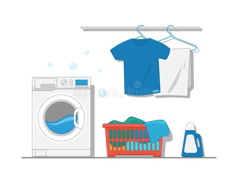 洗衣房的内部设备的传染媒介llustration有洗衣机的,挂衣架,干净的衣裳,洗衣篮 皇族释放例证