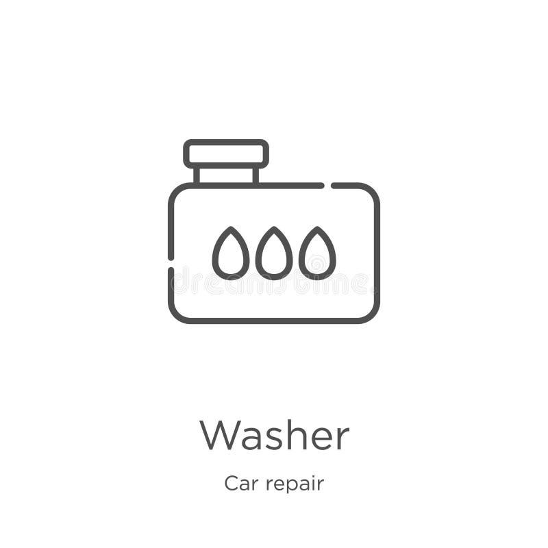 洗衣机从汽车修理汇集的象传染媒介 稀薄的线洗衣机概述象传染媒介例证 概述,稀薄的线洗衣机象 皇族释放例证